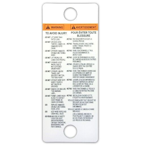 White heavy duty plastic warning tag in English and French