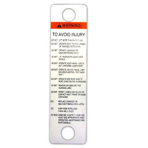white, heavy duty plastic, warning tag for hoist pushbuttons in English